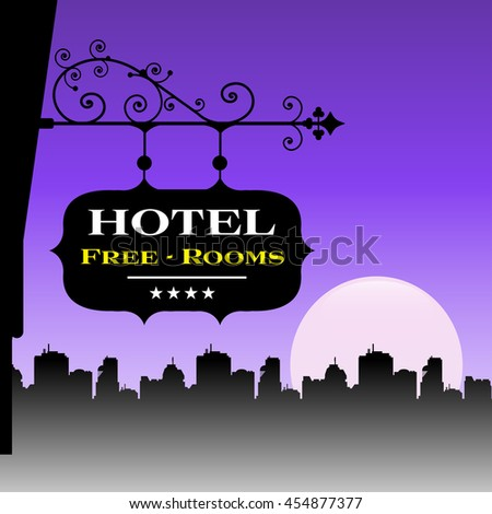 Colorful background with a hotel plate and the text free rooms written on the plate - stock vector