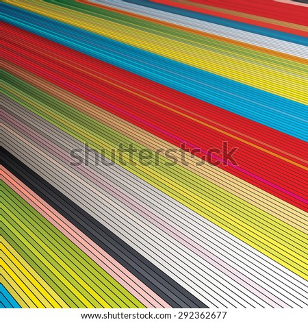 Colorful background with 3d stripes - stock vector