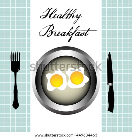 Colorful background with fork, knife and two eggs on a plate. Healthy breakfast concept - stock vector