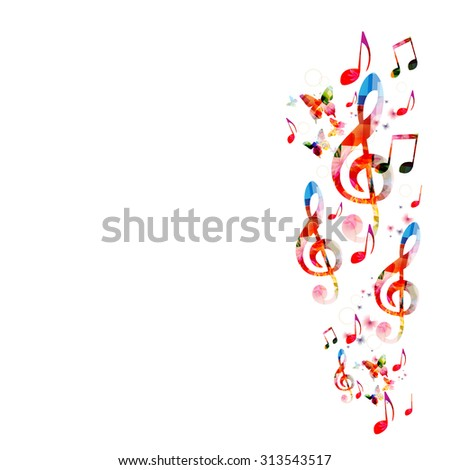 Colorful background with music notes - stock vector