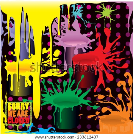 colorful background with paint splashes - stock vector