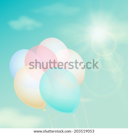 Colorful balloon on the background sky. Vector vintage filter - stock vector