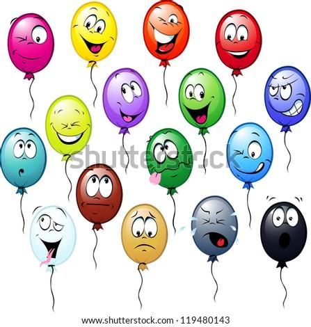 colorful balloons cartoon - stock vector