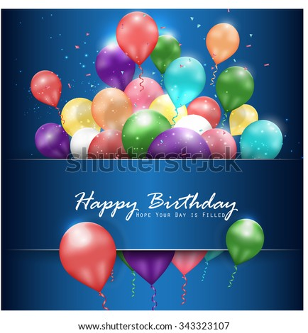 Colorful balloons Happy Birthday on blue background. vector - stock vector