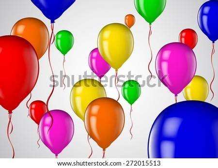 Colorful balloons in flight. Multicolored balloons flying party  - stock vector