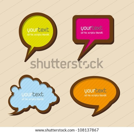colorful balloons text over beige background. vector illustration - stock vector