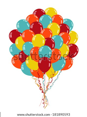 Colorful balloons with ribbons isolated on white - stock vector