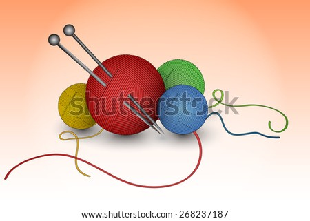 Colorful balls of wool with knitting needles - stock vector