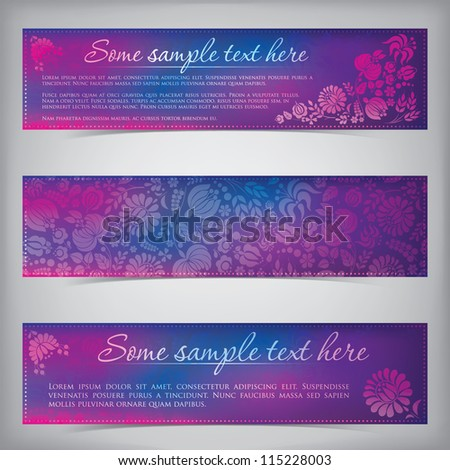 Colorful banners with Hungarian folklore floral elements - stock vector