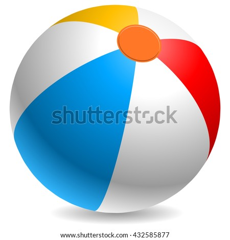 Colorful beach ball vector illustration. White, red, yellow and blue beach ball isolated on white background. - stock vector