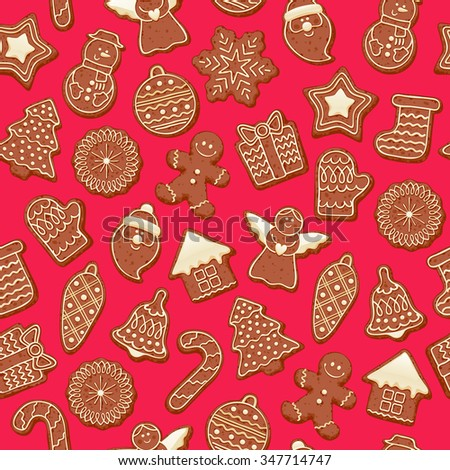 Colorful beautiful Christmas chocolate cookies icons seamless pattern. Sweet decorated new year backings background - gingerbread man star santa snowflake christmas tree ball sock. - stock vector