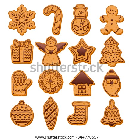 Colorful beautiful Christmas cookies with chocolate decoration icons set. Sweet decorated new year backings - gingerbread man star santa snowflake christmas tree ball sock ant other holiday symbols. - stock vector