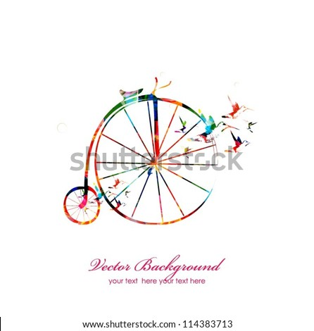 Colorful bicycle with hummingbirds background - stock vector