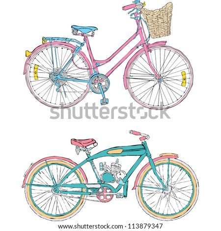 Colorful bicycles - stock vector