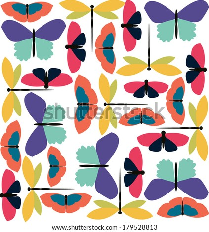 Colorful big butterfly pattern - stock vector