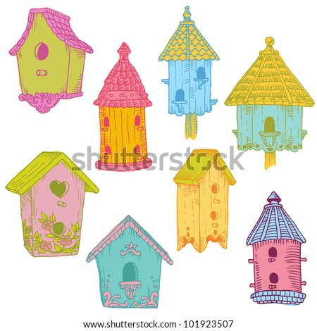 Colorful Bird Houses - hand drawn in vector - for design and scrapbook - stock vector