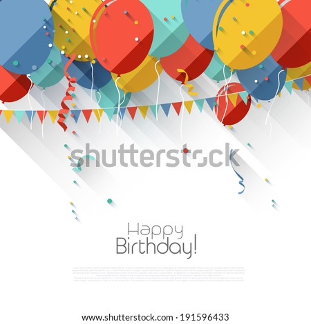 Colorful birthday background with flying balloons and copyspace in flat design style - stock vector