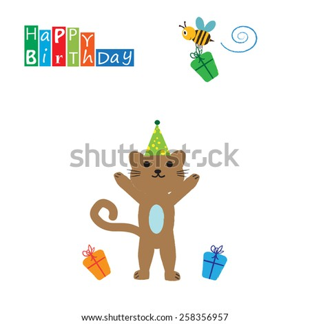 Colorful birthday card with funny and sweet animal - stock vector