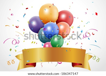 Colorful birthday celebration with balloon and ribbon - stock vector