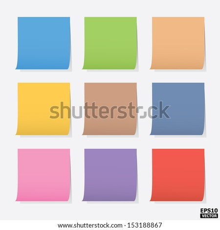 Colorful blank post-it notes or colorful paper notes.-eps10 vector - stock vector