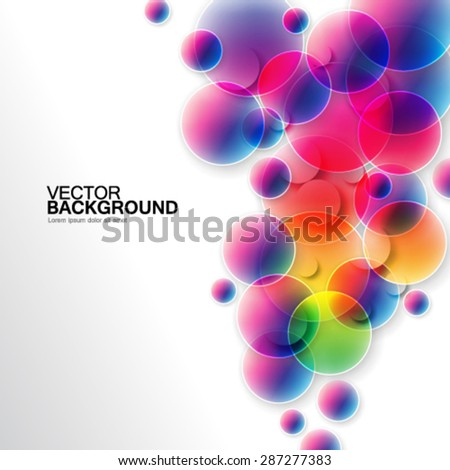 Colorful Blurred Edges Overlapping Circles Design Background - stock vector