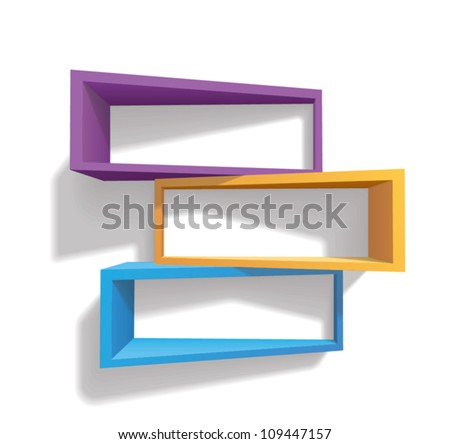 colorful bookshelves (shadows are transparent) - stock vector