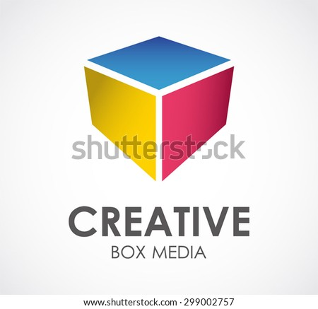 Colorful box media abstract vector logo design template creative business icon company entertainment symbol concept - stock vector