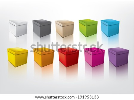 Colorful boxes.  - stock vector