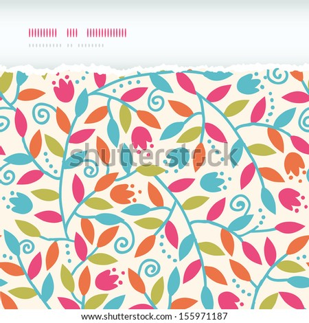 Colorful Branches Horizontal Torn Frame Seamless Pattern Background - stock vector