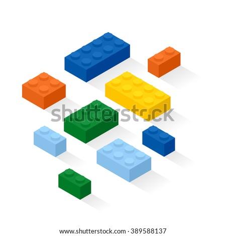 Colorful bricks background. Construction set details. Vector, eps10. - stock vector
