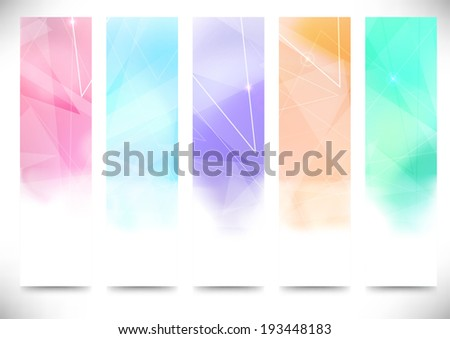 Colorful bright modern crystal structure flyers collection. Vector illustration - stock vector