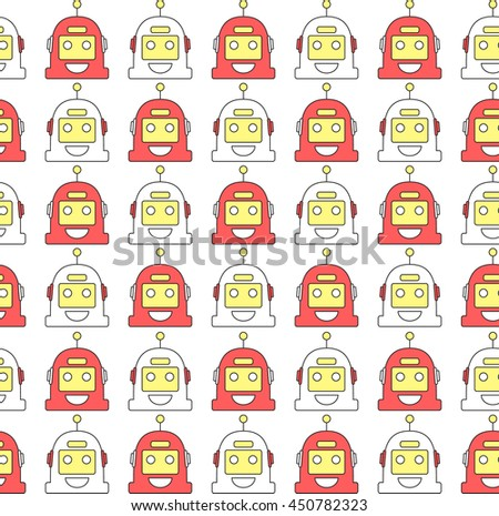 Colorful Bright Vector Illustration Seamless Pattern Set of Funny Robots In Cartoon Doodle Style. Perfect For Children Book Covers, Wrapping Paper, Wallpaper - stock vector