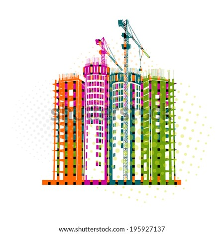 Colorful building design illustration vector - stock vector