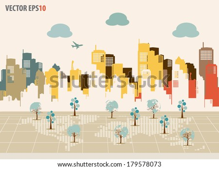 Colorful buildings design. Vector illustration. - stock vector