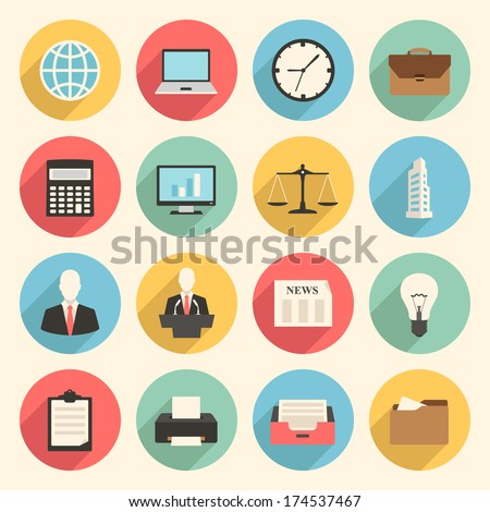 colorful business and office flat design icons set. template elements for web and mobile applications - stock vector