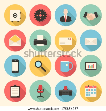 colorful business, finance and office flat design icons set. template elements for web and mobile applications - stock vector