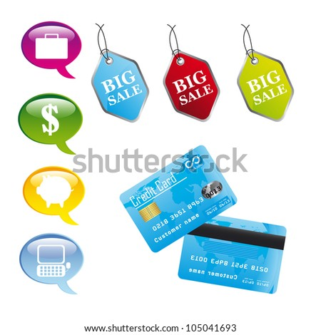colorful business icons with credit card. vector illustration - stock vector