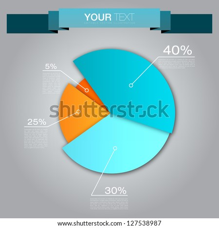 Colorful Business Pie Chart for Your Documents, Reports and Presentations - stock vector