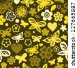 Colorful butterflies in shades of yellow seamless pattern, vector - stock vector