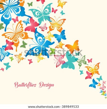 Colorful Butterflies. Original Design for Greeting Cards, Fashion, Backgrounds. - stock vector