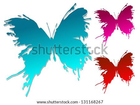 Colorful butterfly blots isolated on white background. Jpeg (bitmap) version also available in gallery - stock vector