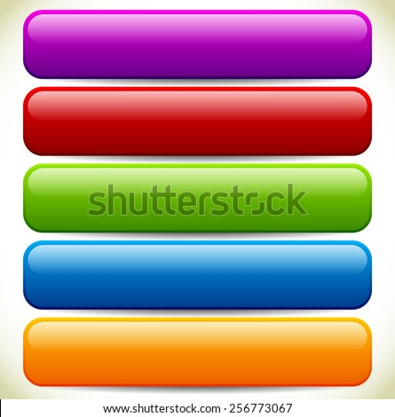 Colorful Button / Banner Backgrounds with Glossy Effect and Empty Space - stock vector