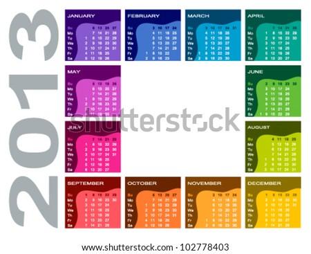 Colorful calendar 2013 - English (Sunday first) - stock vector