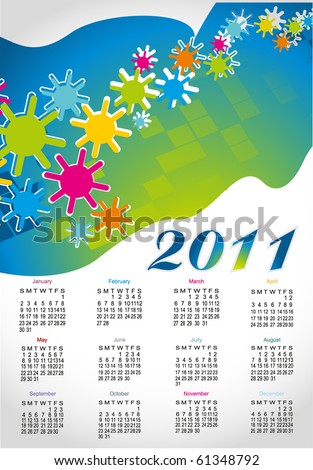 Colorful calendar for 2011,eps10 - stock vector