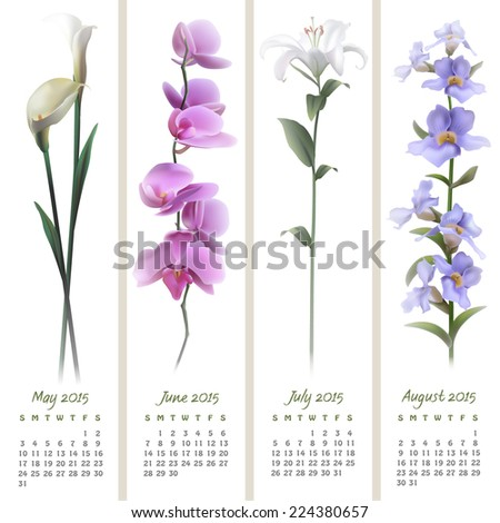 Colorful calendar for May-August 2015 with floristic design elements. Vector illustration - stock vector