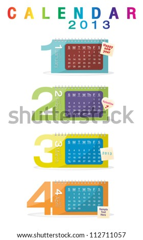Colorful calendar 2013, january, february, march, april - stock vector