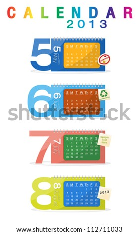 Colorful calendar 2013, may, june, july, august - stock vector