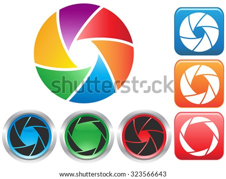 colorful Camera shutter aperture symbol - stock vector
