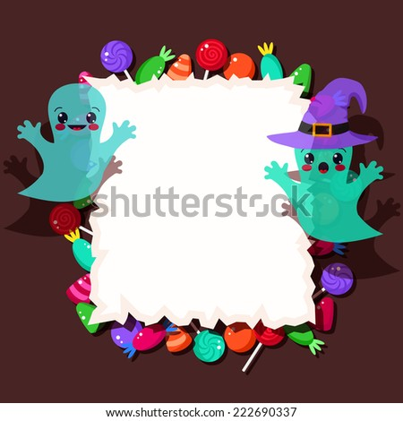 colorful candies and cute Halloween ghosts with frame - stock vector