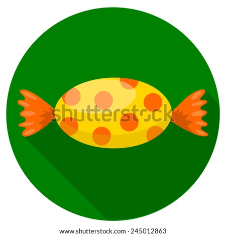 Colorful candy icon, yellow color paper wrap with orange dots bonbon on green circle. web button, flat and shadow theme design sign. vector art image illustration, isolated on white background eps10 - stock vector